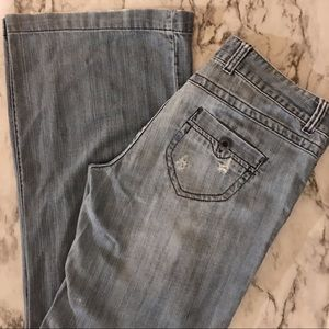 American Eagle hipster wide leg distressed jeans 8